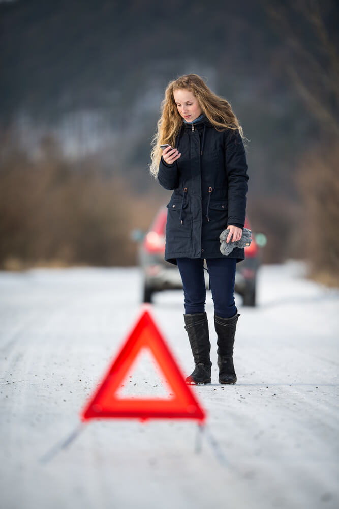 Winter Car and Travel Emergency, woman near accident in the snow